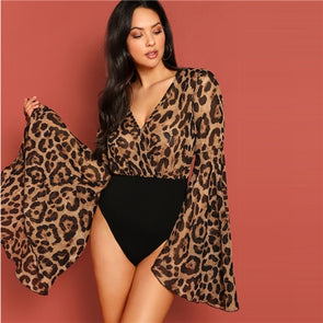 Women Exaggerated Bell Sleeve Leopard Print V neck Bodysuit