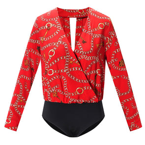 Chain Strap Print Deep V Neckline Long Sleeve Shirt Overalls Ladies Tracksuit