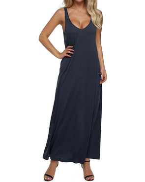 Plus Size V Neck Backless  Sleeveless Maxi Tank Dresses