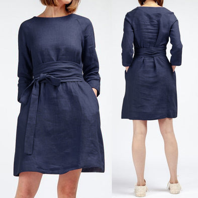 3/4 Sleeve Loose Belted Female Sundress