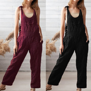 Women Summer Rompers Vintage Cotton Linen Jumpsuit