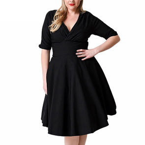 Women Plus Size Dress V Neck Half Sleeve Solid Slim Ruched Elegant Party Swing Skater Dress