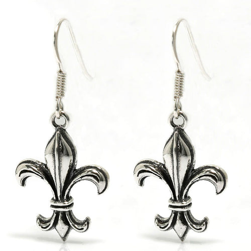 Burgundy Fleur De Lis Earrings