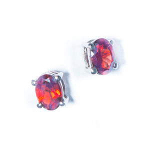 Garnet Post Earring