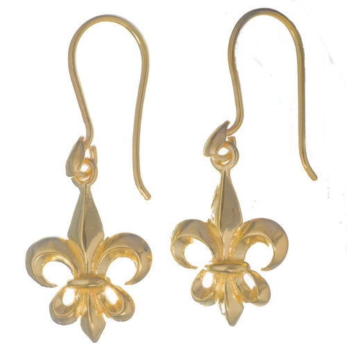 A Tiny 14kt Gold on Silver Fleur de Lis