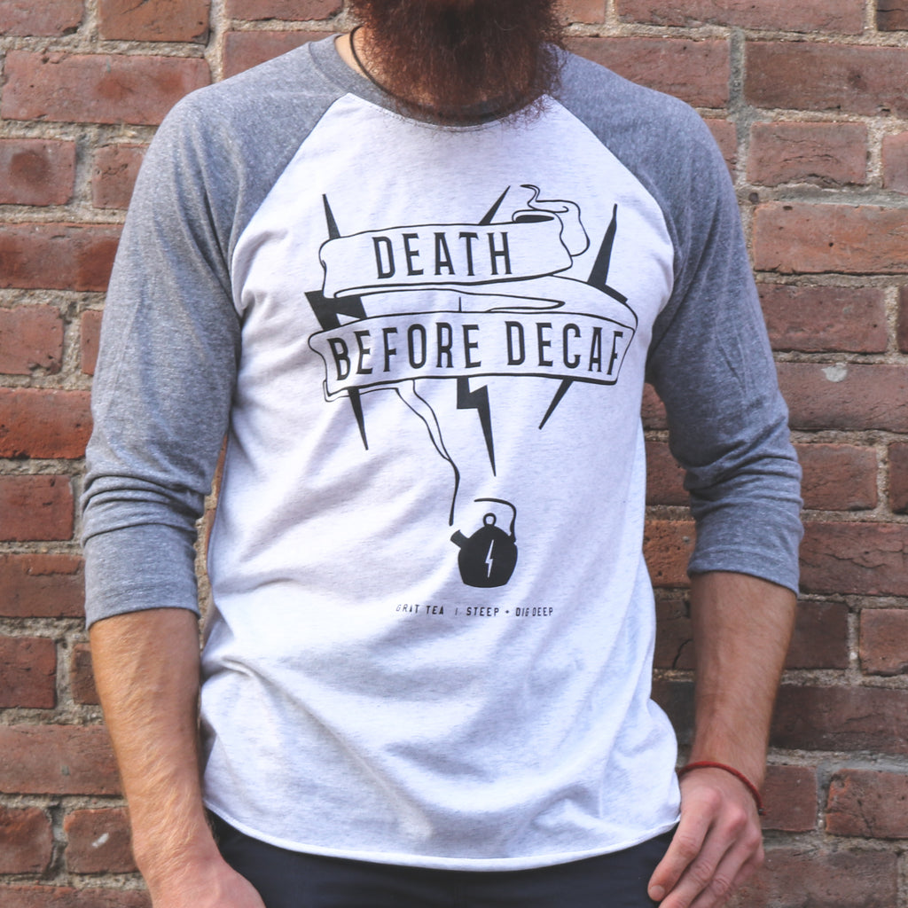 "Men's ""Death Before Decaf"" Baseball Tee"