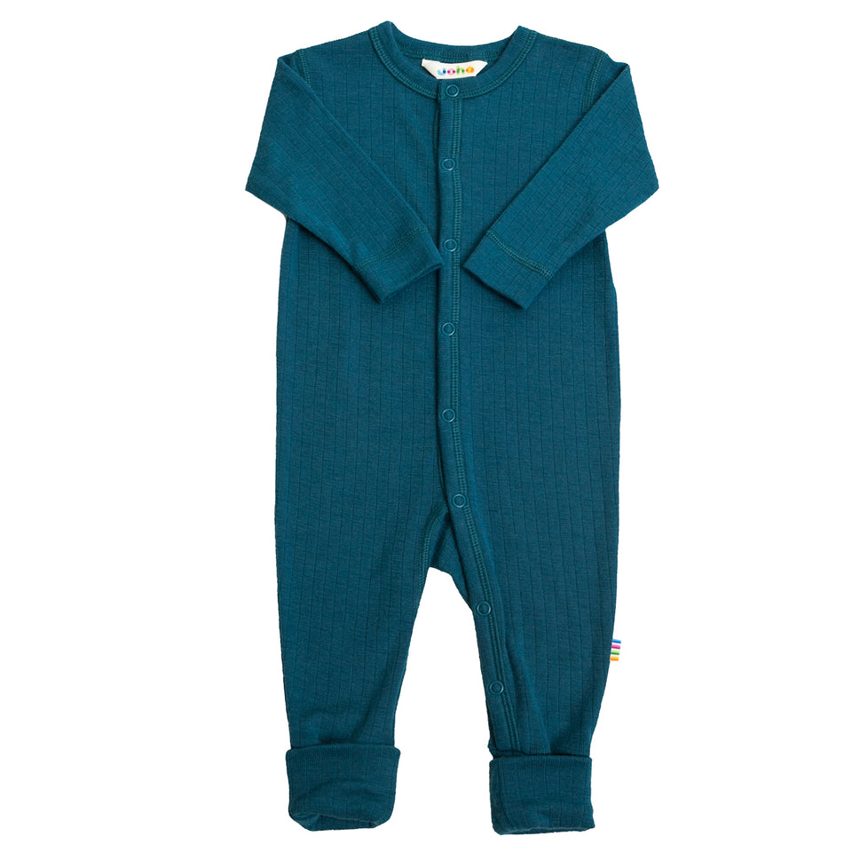 Jumpsuit met 2 in 1 voet  wol petrolblauw LIMITED EDITION 2020