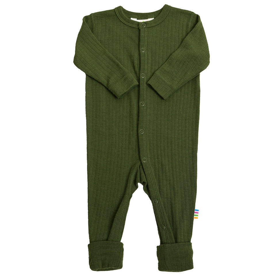 Jumpsuit met 2 in 1 voet  wol mosgroen LIMITED EDITION 2020