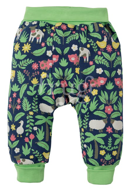 Baggy broek marine blue farm floral