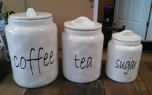 Coffee, Tea, Sugar Glass Canisters