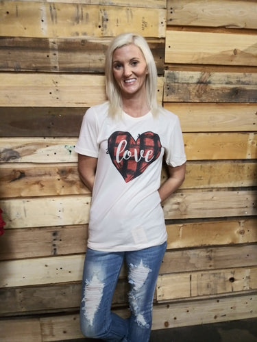Love Plaid Natural Color Tee T9337NAT