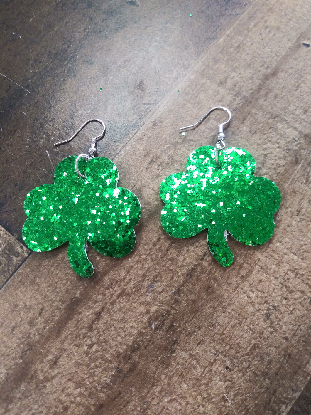 St. Patrick Shamrock Glitter Earrings