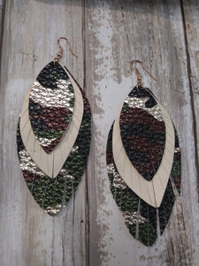 Feather Camouflage Earrings