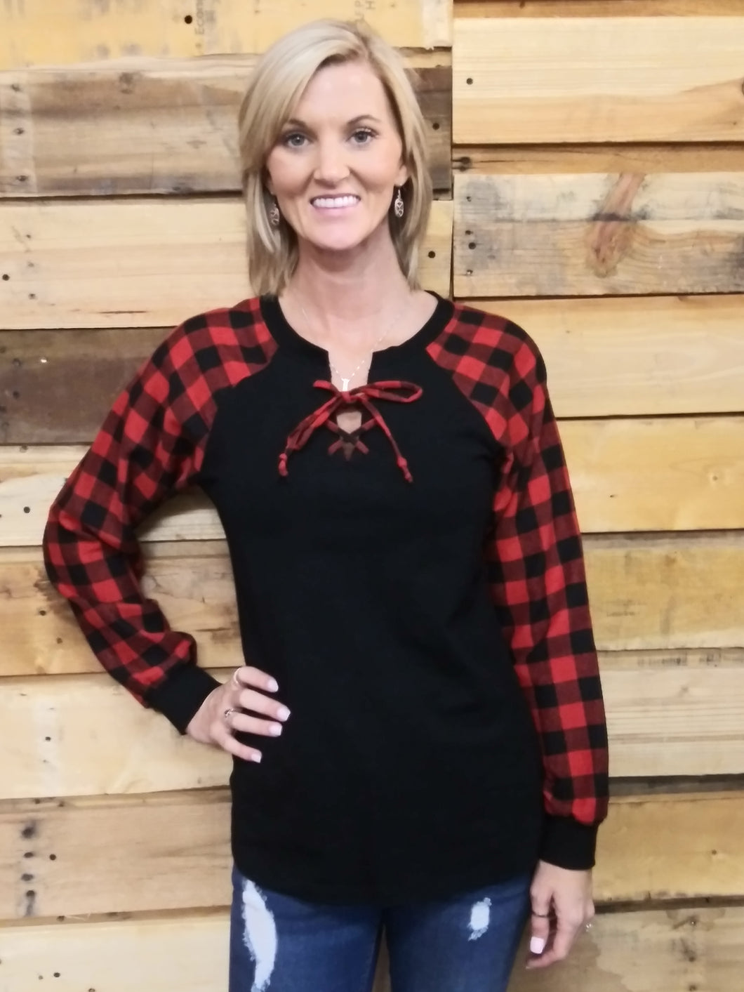 Buffalo Plaid Lace Up Top # 10300