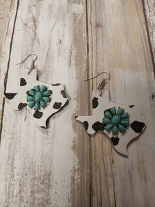 COW PRINT & TURQUOISE TEXAS EARRINGS