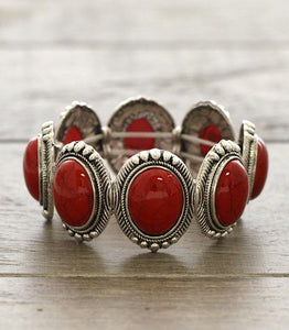 Silver & Red Turquoise Bracelet BRA1747RD