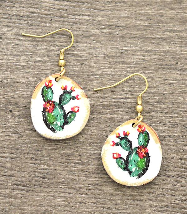 Cactus Earrings with Gold Hooks ER2782AS