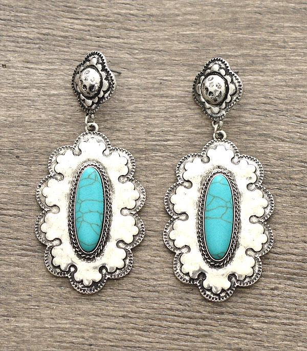 Silver Earrings with Turquoise Middle Stone ER3017SLTQ