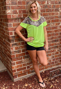 Neon Green & Leopard Top