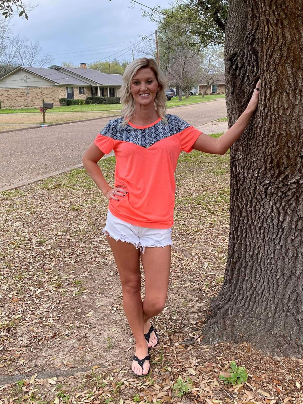Neon Coral & Snakeskin Top