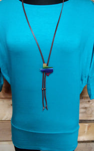 Serape Texas Concho Bolo Style Necklace With Leather 71864