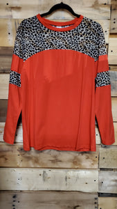 Long Sleeve Leopard Top with Stripe 10087