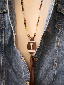 Football Tassel Necklace Brown 72253