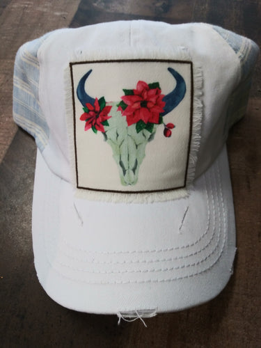 Poinsettia Bull Skull Ball Cap