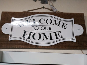White Metal/wood Plaque Welcome Home