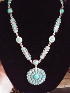 Turquoise Concho Oval Necklace