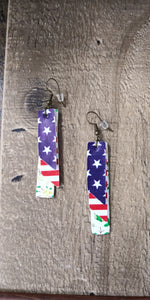 Vertical Bar Faux Leather Patriotic Earrings