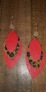 Leopard Leaf Layered Earrings