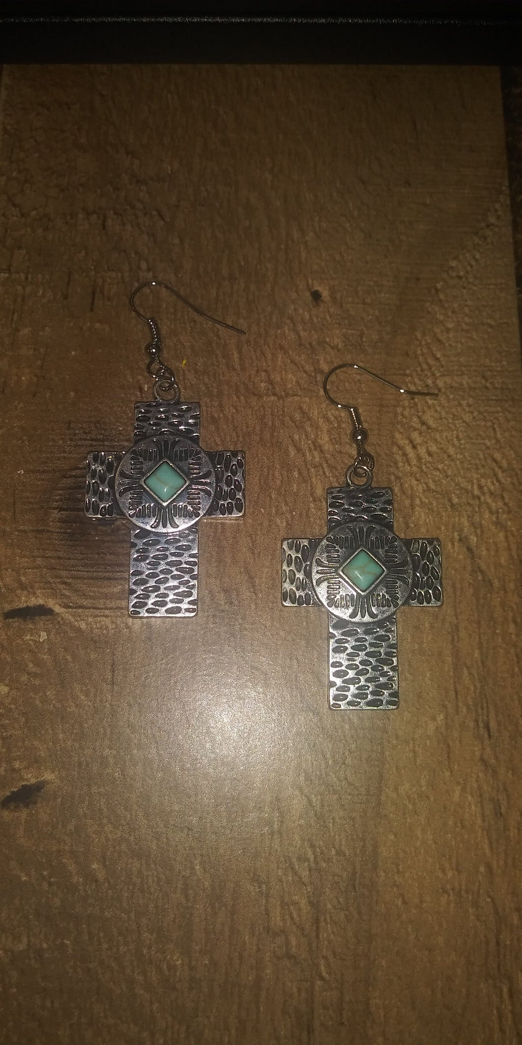 Silver Cross Earrings w/ Turquoise