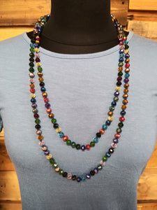 Dark Multi Crystal Beaded Necklace