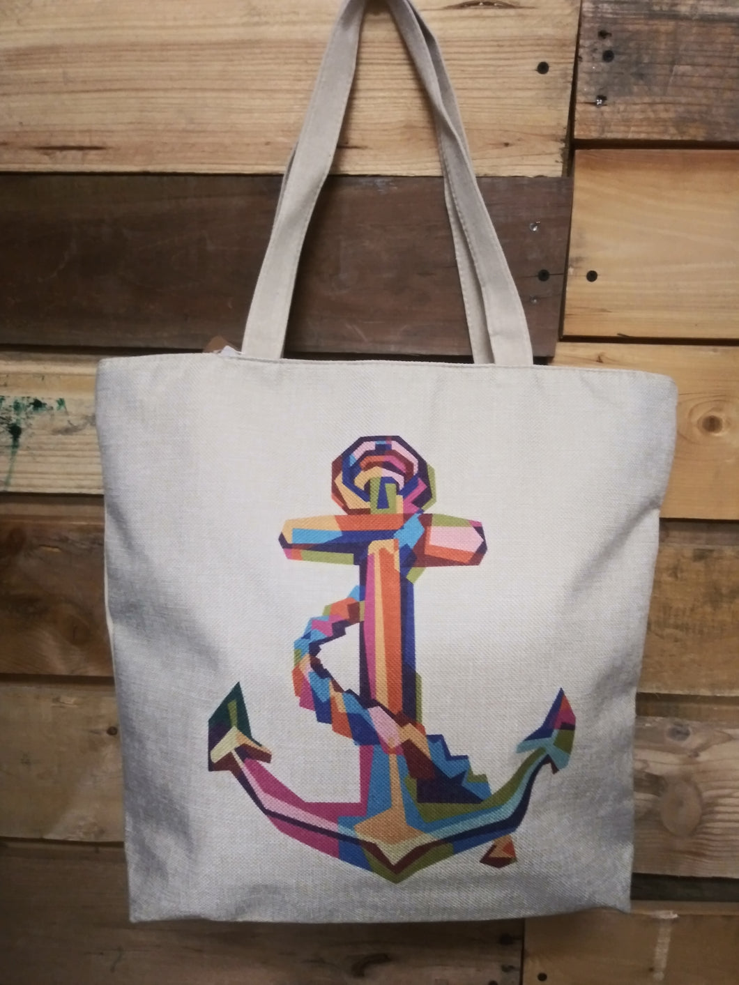 Canvas Tote w/ Multi Colored Anchor