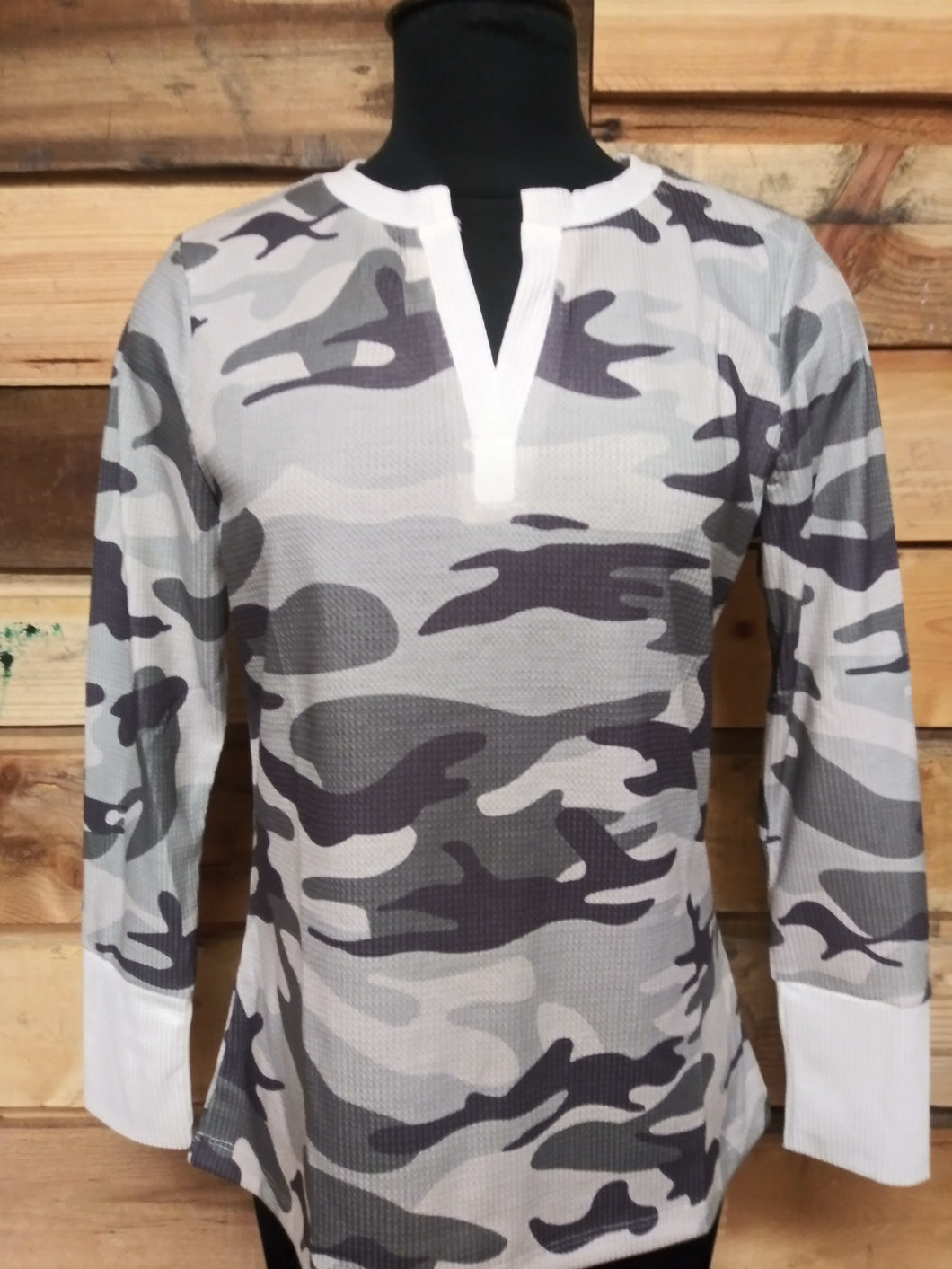 Camo Long Sleeve V Neck Top