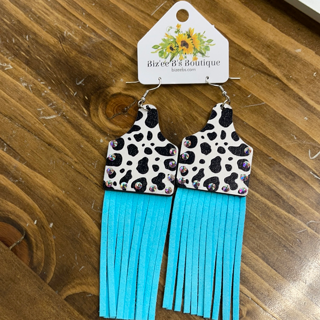 Cow Ear Tag Earrings with Tassels