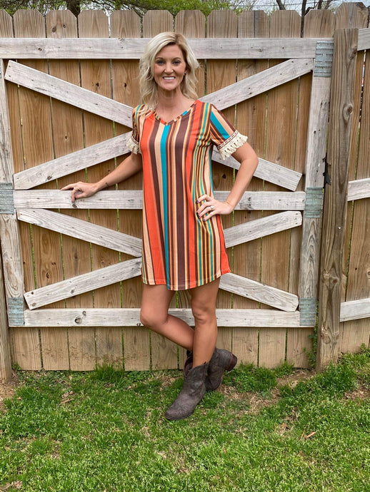 Bali Bliss Striped Dress with Fringe Sleeve