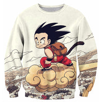 Dragon Ball Kid Goku Flying Nimbus Long Sleeved Shirt