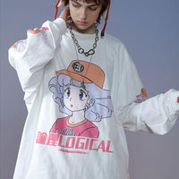 Kawaii Logical Oversized Long Sleeve Shirt