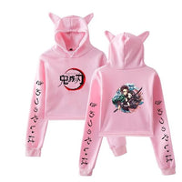 Demon Slayer Bunny Cropped Tanjiro and Nezuko Total Concentration Hoodie
