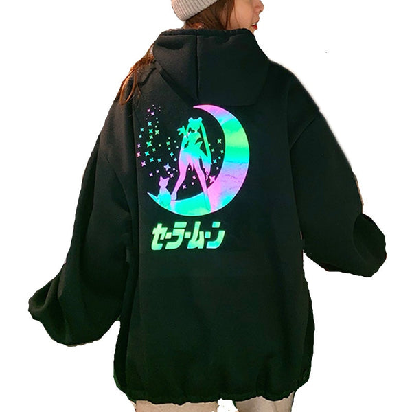 Sailor Moon Reflective Oversized Hoodie Kawaii Sweatshirt