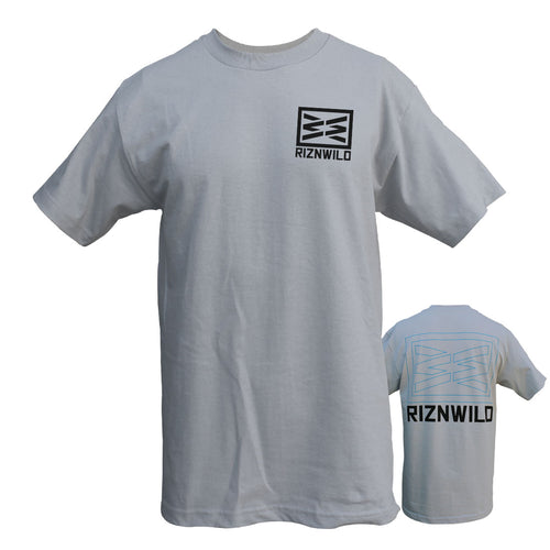 RIZNWILD | Men's Silver t-shirt with black ink logo