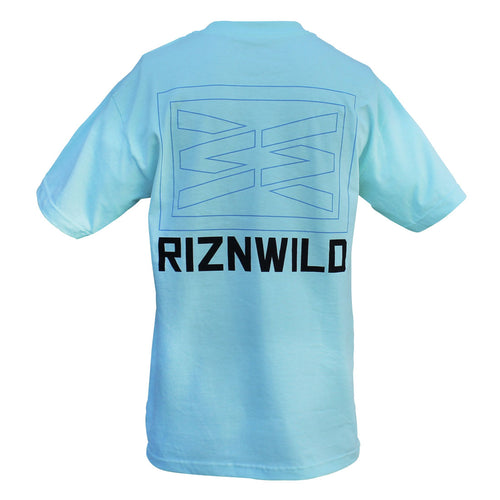 RIZNWILD | Large screen printed logo on the back of a powder blue men's tee