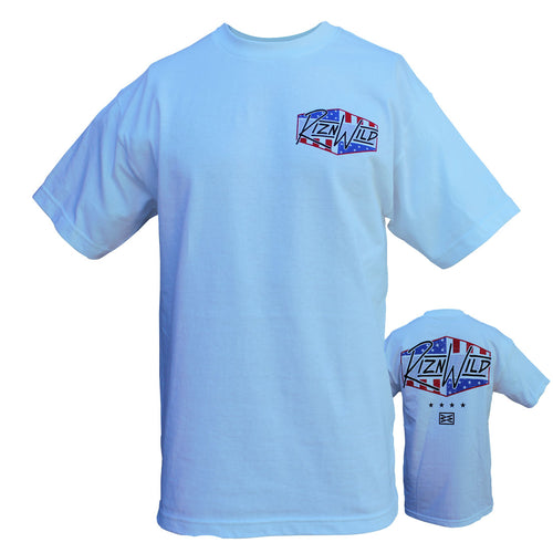 RIZNWILD | Men's Powder Blue T-Shirt red, white, blue design
