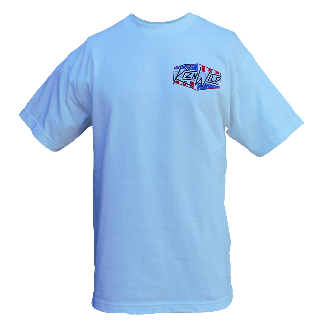 RIZNWILD | Men's powder blue t-shirt left chest screen print design