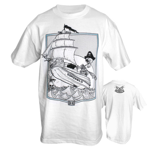 RIZNWILD | Jet Ski pirate ship graphic design men's t-shirt logo