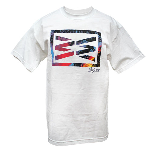 RIZNWILD | Men's tee shirt white with a photo of a sunset