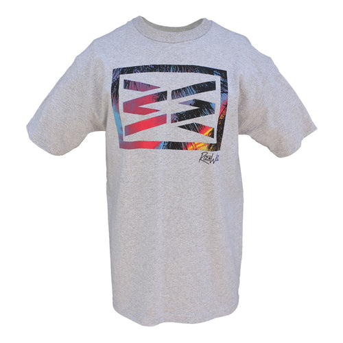 RIZNWILD | Men's Athletic Heather T-Shirt sunset and palm tree logo