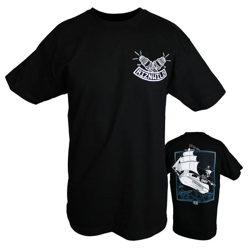 RIZNWILD | Captain Skinner Jet Ski Pirate Ship design t-shirt on black